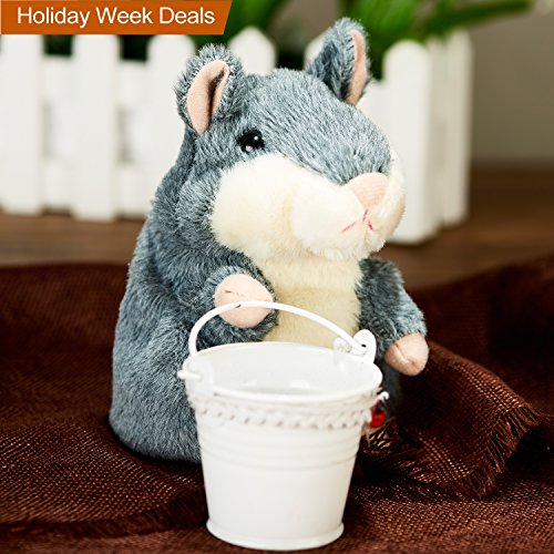 Price comparison product image Szresm Talking Hamster Repeats What You Say Electronic Pet Talking Plush Buddy Mouse for Child Kids Party Toys