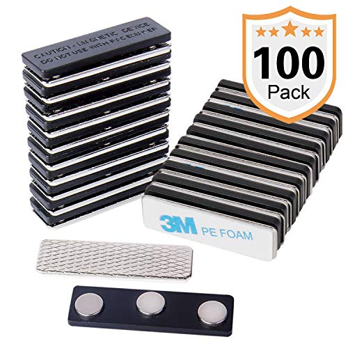 100 Pack Name Badge Magnets, Magnetic Name Badge Holders, Name Tag Magnet Backs with 3 Powerful Neodymium Magnets and 3M Adhesive Front Plate