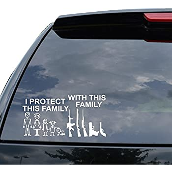 I protect this family with this family guns stick figure decal sticker car truck motorcycle window