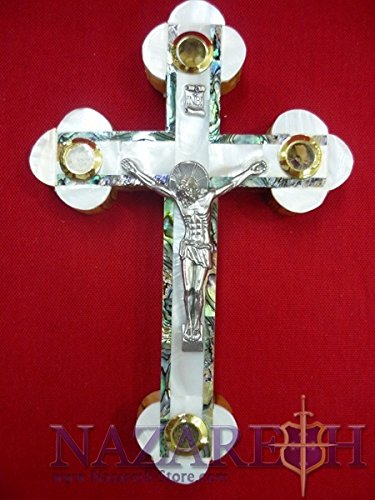 Mother of Pearl Cross Crucifix on Olive Wood Base 7.1