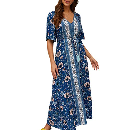 Azcczzii Women's Aline Dress Loose Ethnic Print Half Sleeve Bohemia Dress (XL, Dark Blue)