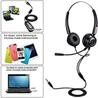 Binaural 3.5mm Telephone Headset, PChero Universal Call Center Telephone Headset Comfort Best Sound Quality with Noise Canceling Mic
