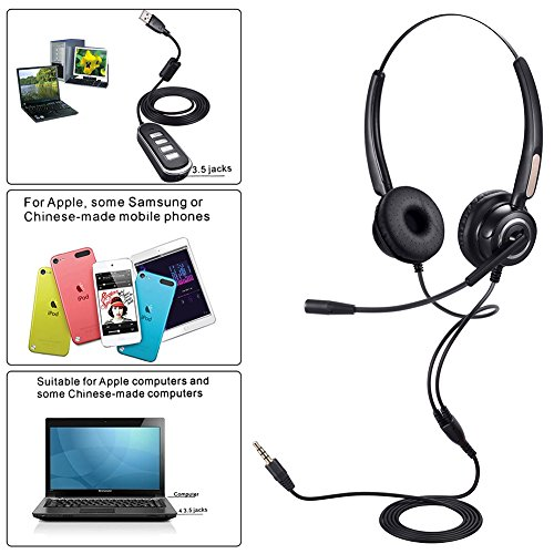 USB Headset or 3.5mm Computer Headphone Noise Cancelling and Hands-Free with Mic, PChero Stereo Wired Headset for PC Cellphone Tablet - Binaural