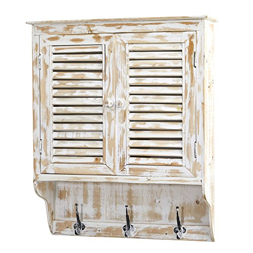 Nearly Natural 7049 32 in. White Washed Hooks Wall Cabinet,