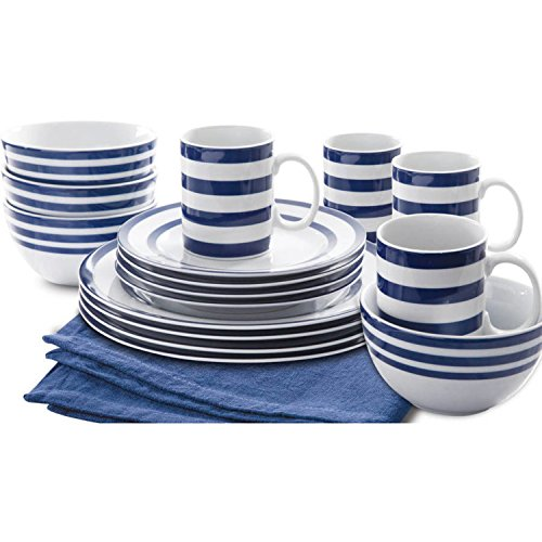 Stylish Vivid Blue Stripes Design Porcelain Dinnerware Set, 16Pcs by Gibson Dinnerware Collection