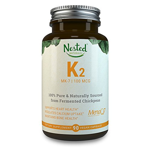 VITAMIN K2 (MK7) 100 mcg | 90 Vegan Capsules of Premium, Highly Bioavailable MenaQ7 From Chickpeas – 100% Non GMO & Soy Free K 2 Supplement | Bone & Cardiovascular Health Support | MK 7 Supplements