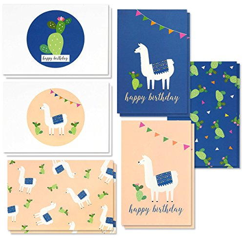 - Birthday Card - 48-Pack Birthday Cards Box Set, 6 Cute Llama and Cacti Happy Birthday Cards Bulk, Envelopes Included, 4 x 6 Inches