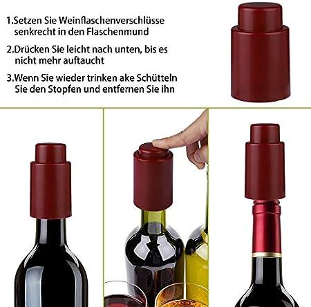 Prokitchen Set de 5 Tapones para Botellas, Tapones Vino, Tapa de Botella de Champán,Para Mantener tus Vinos o Champán frescos, Pack incluye 2 Tapones para Vinos, 2 Tapones para Champán, 1 Sacacorchos