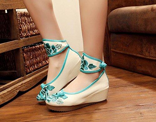 ZLL Fein bestickte Schuhe, Leinen, Sehnensohle, ethnischer Stil, weibliche Schuhe, Mode, bequem, Erhöhte 5cm Segeltuchschuhe , black , 39