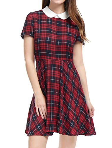 Allegra K Women's Checks Peter Pan Collar Puff Sleeves Above Knee Dress M Red