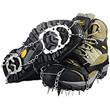 Ice Cleats, Ravifun Snow Spikes Crampons Unisex Anti Slip Shoes Grippers with 18 Teeth Stainless Steel for Winter Walking Hiking Mountaineering, Size M/L/XL