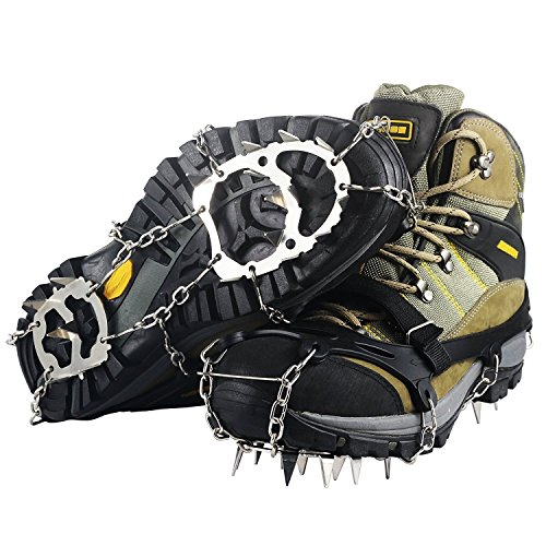 Ravifun Ice Cleats, Snow Spikes Crampons Unisex Anti Slip Shoes Grippers with 18 Teeth Stainless Steel for Winter Walking Hiking Mountaineering, Size L