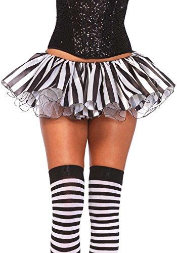 Leg Avenue Women's Striped Tutu, Black/White, One Size -