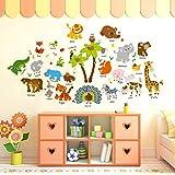 cartoon animal baby early education English wall stickers kindergarten kids room wall creative decoration ornament stickers-xsq