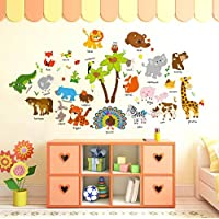 cartoon animal baby early education English wall stickers kindergarten kids room wall creative decoration ornament…