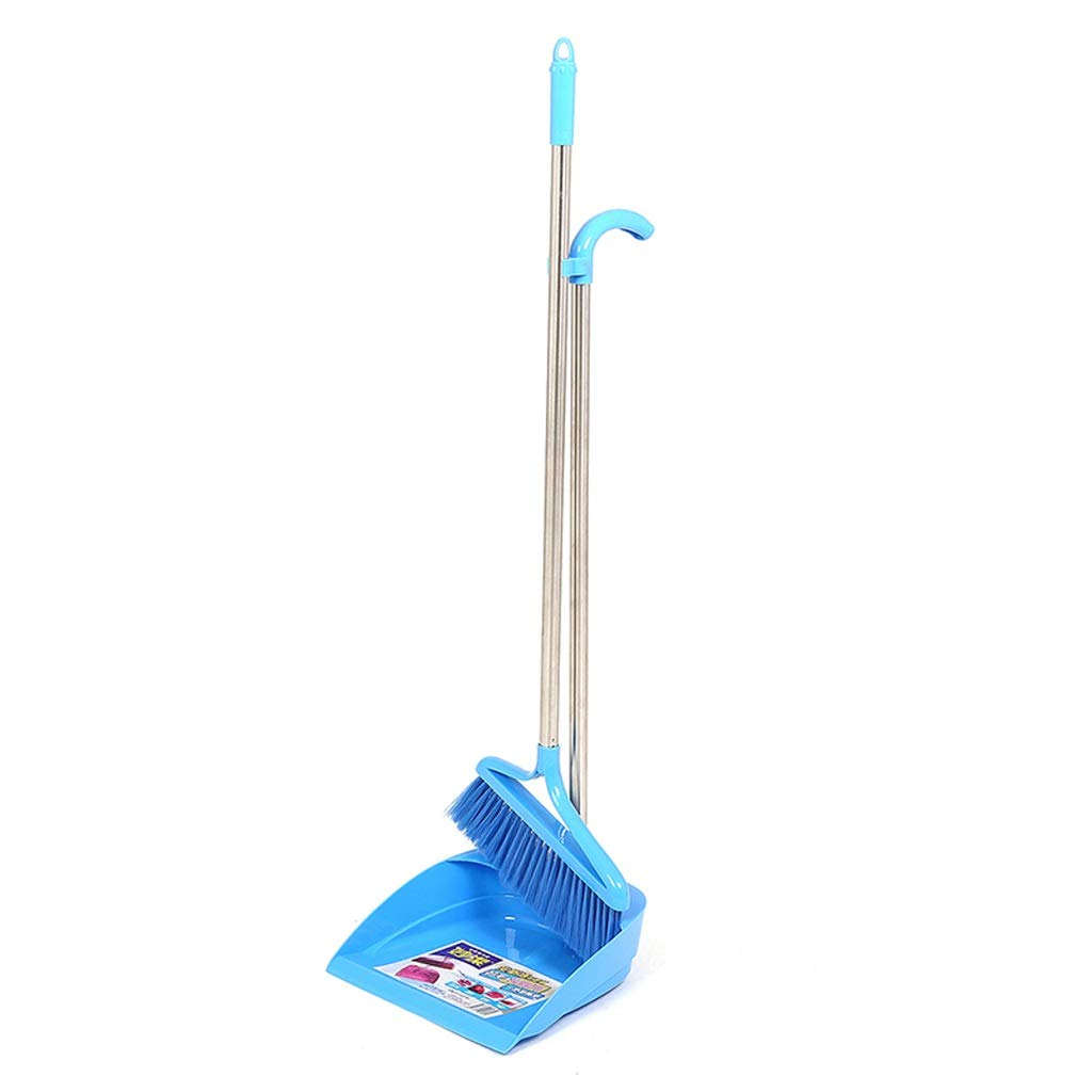 Lsxlsd Upright Stand Up Dustpan Broom Set Dust Pan And Broom Dust Pan Set Dustpan And Brush (Color : Blue) by Lsxlsd