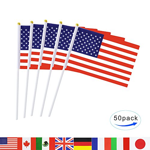 TSMD USA Stick Flag, 50 Pack Hand Held Small American US Fla