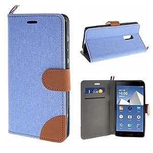 MOONCASE Carcasa para OnePlus TWO Cartera Funda Carcasa Cuero Tapa Case Cover Azul