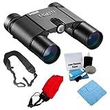 Bushnell 190125 Legend Ultra HD 10x 25mm Binoculars + Foam Float Strap Red + Cleaning Cloth + Wide Strap + Lens Cleaning Kit