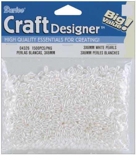 Darice Pearls, 3x6mm, White, ()