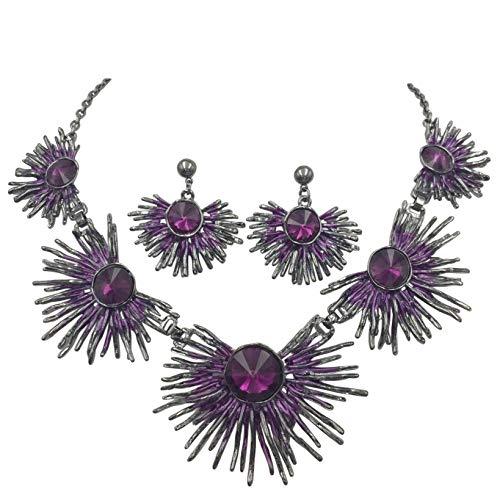 Gypsy Jewels Unique Burst Flair Stick Statement Necklace & Earrings Set - Assorted Colors (Purple Gun Metal)