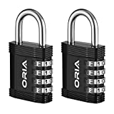 ORIA Combination Lock, 4 Digit Combination Padlock, for School, Gym & Sports Locker, Fence, Case, Toolbox, Hasp Cabinet and Storage, Set of 2, Black