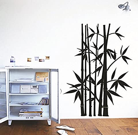 BIBITIME Chinese Style Black Bamboo Wall Stickers for Children Study Living Room Porch Bedroom Kids Room Decor Art - Bamboo Wall Decals