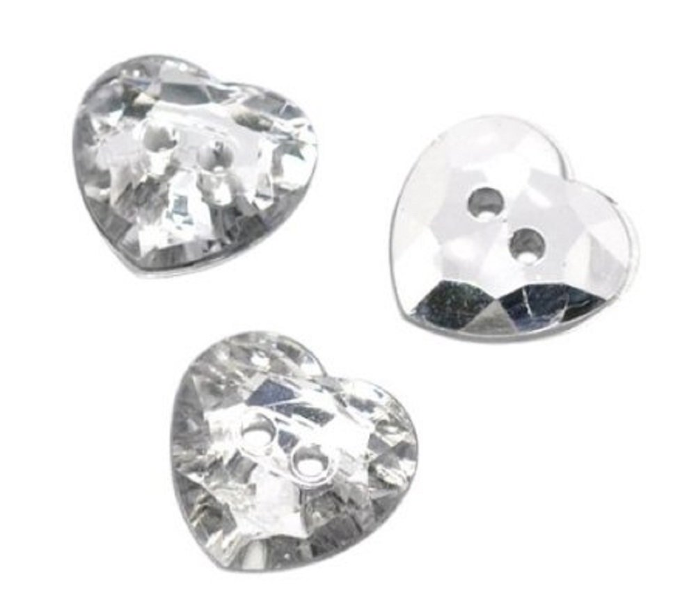 25 Silver Plated pretty Crystal Round Acrylic Sewing Buttons Scrapbooking 13mm