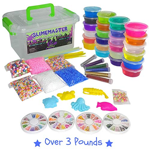 DIY Crystal Slime Making Kit - Super Slime in 24 Colors - Big Kids Craft Kit for Boys & Girls - Supplies Include Foam Balls, Glitter Bottles, Wheel & Fruit Slice Decorations in Clear Container ()