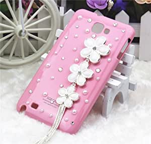 Pink Flower Tassel Pearl Bling 3d Diamond Crystal Hard Back Cover Case (for Samsung Galaxy Note II Note 2 N7100)