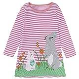 Kids Little Girls Dresses, Long Sleeve Cartoon Rabbit Printing Stripe Princess Casual T-Shirt Dress Children Clothes/4T