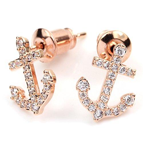 (FC JORY Rose Gold GP Cubic Zirconia CZ Crystal Anchor Women Girl Earrings Studs)