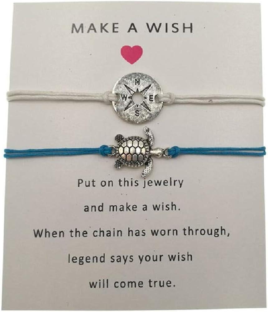 Tiande 4 pcs Tree of Life Turtle World Map Infinity Rope Card Make a Wish Bracelet Thank You Friendship Bracelet Gift Card