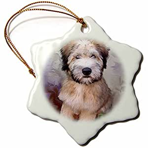 3drose Soft Coated Wheaten Terrier Snowflake Porcelain Ornament, 3-Inch