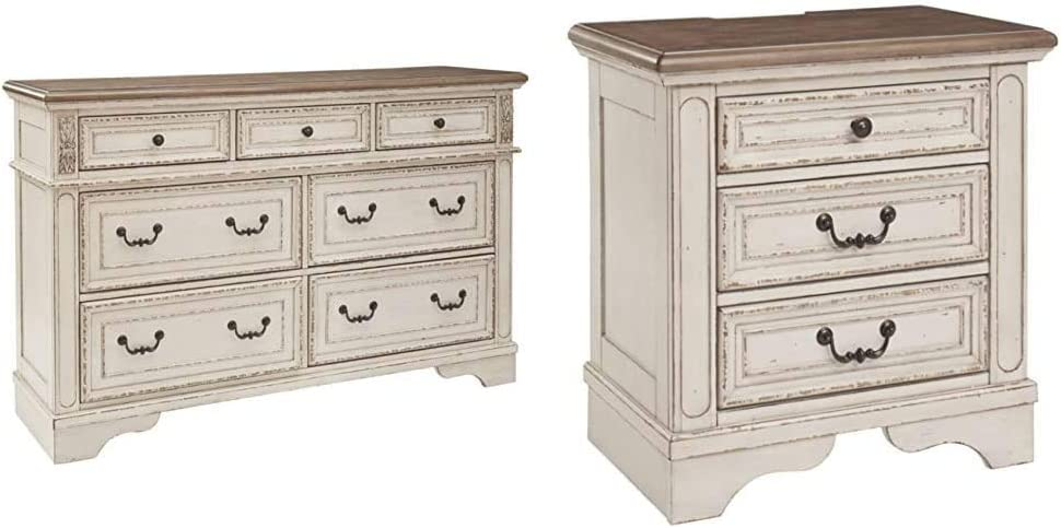 Signature Design by Ashley B743-31 Realyn Dresser Chipped White & Realyn Nightstand, Chipped White