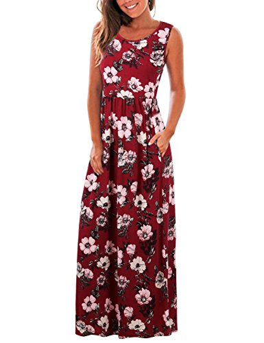 - FINMYE Swing Dress,Chic Women's Sleeveless Tank Dress with Pocket Wine Red XXL