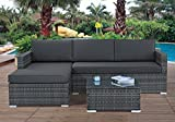 Modern Outdoor Garden, Sectional Sofa Set with Coffee Table - Wicker Sofa Furniture Set (Grey)