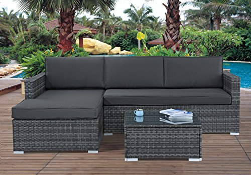 Madison Home Modern Outdoor Garden Sectional Wicker Sofa Set with Coffee Table Grey from Madison Home