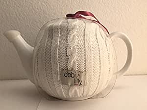 debi lilly cosy tea pot white ceramic with cable knit cover teapots. Black Bedroom Furniture Sets. Home Design Ideas