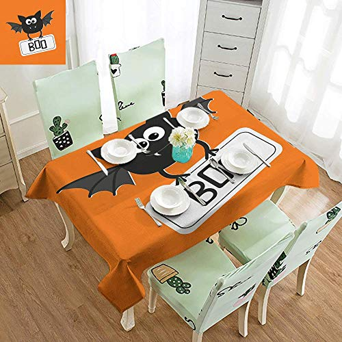DILITECK Fabric Dust-Proof Table Cover Halloween Cute Funny Bat with Plate Boo Fangs Scare Frighten Seasonal Cartoon Print Great for Buffet Table W70 xL94 Orange Black White]()