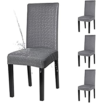 YISUN Dining Chair Covers, Solid Pu Leather Waterproof And Oilproof Stretch  Dining Chair Protctor Cover