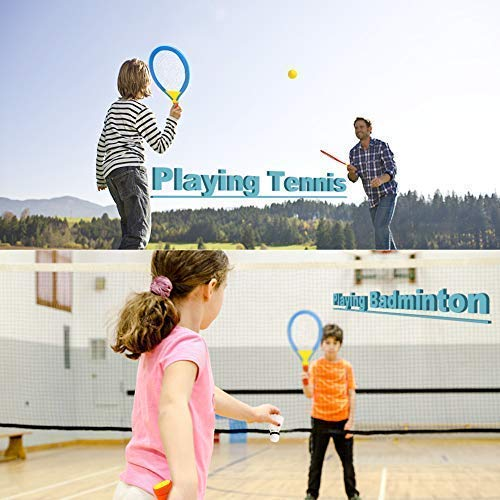 Badminton Tennis Racket Toys for Kids 2 In 1 Garden Outdoor Sports Toys with Badminton Tennis Ball Set Toys for 3 4 5 Year Old Boys Girls Children