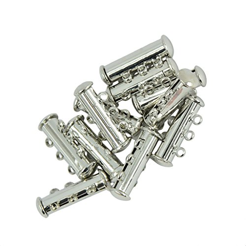 Pearl Slide Bracelet (MonkeyJack 10 Pieces Brass Multi 3 Strand Magnetic Slide Lock Tube Bead Loom Clasps Silver Gold - Silver, 21 x 10 x 6mm)