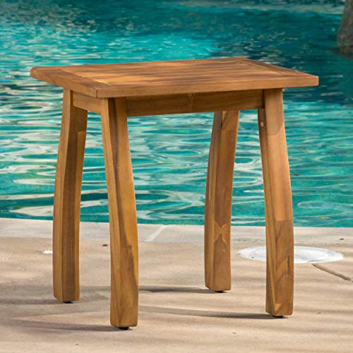 - PH 1 Piece 19 Inch Natural Brown Patio Side Table, Water Resistant Outdoor Side Table Weather Resistant Rectangular Shaped Patio Coffee Table Hardwood Species Resembles Mahogany, Acacia Wood
