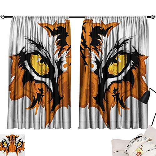 Davishouse Eye Light Luxury high-end Curtains Tiger Eyes Graphic Mascot Animal Face Bengal Cat African Safari Predator Theme Darkening and Thermal Insulating