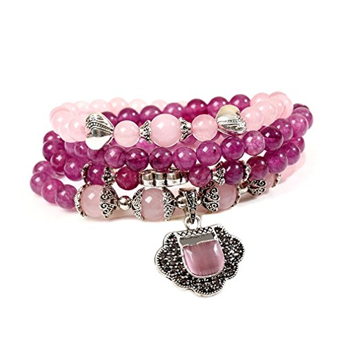 8mm Natural Gem Semi Precious Gemstone Bracelet Chrysoprase Agate Green Bracelets,Birthstone Multilayer Hand String Accessories (Purple + Pink)