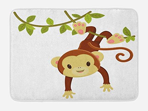 Ambesonne Nursery Bath Mat, Cartoon Monkey Hanging on Liana Playful Safari Character Cartoon Mascot, Plush Bathroom Decor Mat with Non Slip Backing, 29.5 W X 17.5 L Inches, Brown Green ()