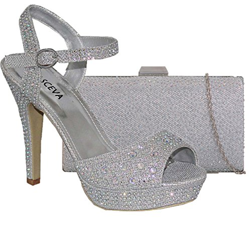 Absolutely Gorgeous Boutique Womens High Platform Heels Ankle Strap Sparkly Sandal Shoes With Matching Bag Silver Ft0LPbuaj