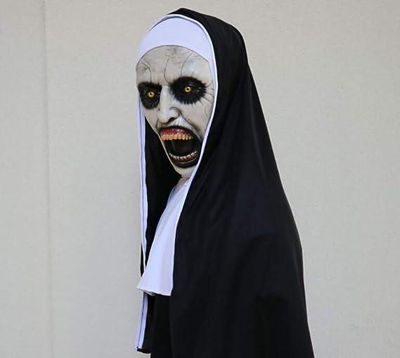 Liliya& Máscara de la Monja de látex de Horror de Halloween Partido de la Barra de la alegría Enojado Mostrar Sombreros Cascos, Open Nun (Three Sets): ...