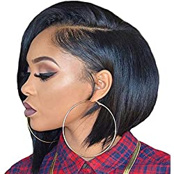 Short Lace Front Human Hair Wigs For Black Women Brazilian Hair With Pre Plucked Bleached Knot,Lace Front wigs,6inches,#4